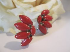Vintage Cherry Red Glass Clip On Earrings by Sisters2Vintage, $18.00