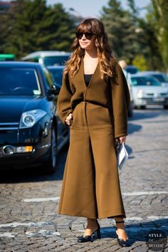 camel culottes with V-neck top