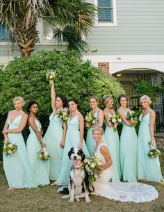 Mint bridesmaids dresses are perfect for a beach wedding, and they literally look good on any skin tone and hair color!