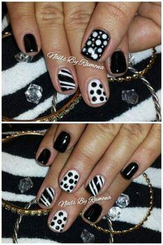 Gel nail polish with nail art. Nails By Ramona. Fancy Nails, Love Nails, Pretty Nails, Short Gel Nails, Prom Nails, Gel Nail Polish, White Nails, Hair And Nails, Nail Colors