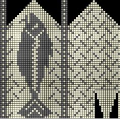 Høyrevott: Fish Mittens from Lesersida Knitted Mittens Pattern, Knit Mittens, Knitting Socks, Crochet Fish, Crochet Chart, Knitting Charts, Knitting Patterns, Loom Animals, Fair Isle Chart