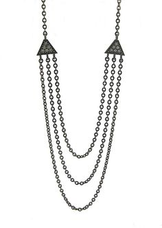 """""""Small Tri Necklace in Blackened Silver with Diamonds"""" Silver & Stone Necklace by Catherine Iskiw"""