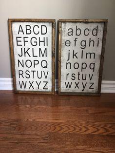 Alphabet signs - playroom decor- alphabet sign - playroom art - farmhouse alphabet by KTInspiredHome Playroom Signs, Playroom Organization, Playroom Decor, Playroom Ideas, Organization Ideas, Toddler Playroom, Alphabet Signs, Alphabet Art, Toy Rooms