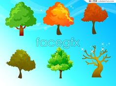 Four seasons trees and fantasy backgrounds vector