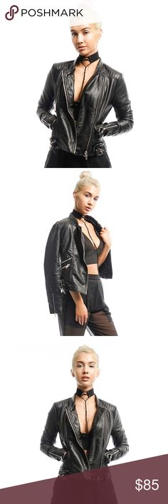 BLACK FAUX LEATHER BIKER JACKET Black  Faux leather  Biker jacket style  Silver metal details. All Pictures shown are of actual products taken for Style Link Miami. Style Link Miami Jackets & Coats