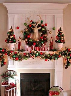 Merry and bright Christmas mantle