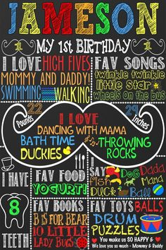 Custom mustache birthday party decoration, unique mustache birthday party chalkboard style ideas, mu