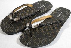 "Very Cute Beaded CLARKS Flip Flops Sandals. Color : Black with Gold & Silver accents. We'll do everything in our power to work things out so you have the best possible buying experience. Width (widest part of sole) = 3-3/4"". 
