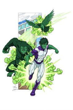 Beast Boy commission by phil-cho on DeviantArt Justice League Characters, Superhero Characters, Dc Comics Characters, Marvel Vs, Marvel Dc Comics, Marvel Heroes, Beast Boy, Teen Titans, Comic Character