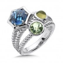 London Blue Topaz,  Green Amethyst, Olive Green Quartz Stack Ring In Sterling Silver. Please call us for details or to order!