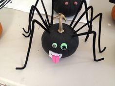 """Mutant Spider Pumpkin  Things you need: 1) small pumpkin 2) pipe cleaners (black) 3) black acrylic craft paint with brush 4) google eyes 5) foam paper for accessories (in this case a tongue) 6) carving knife  7) vampire teeth (Dollar store)  • Cut opening for teeth near bottom of """"face"""" pre-measured with the  edge of teeth length-wise. Test fit your teeth into the opening. • Cut 8 small """"X"""" slits near top of pumpkin and stick in the pipe cleaners. Careful not to push too hard...they bend…"""