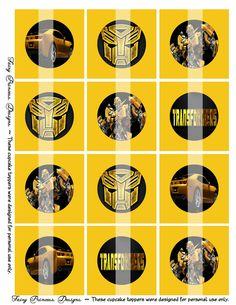 Transformers - BumbleBee -   Printable Cupcake Toppers (DIY). $3.95, via Etsy.