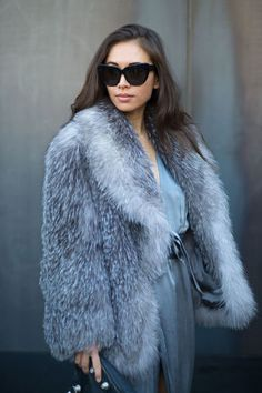 Latest Fashion Week Street Style. Rumi Neely in steely blue hues at New York Fashion Week Fall 2015 #nyfw