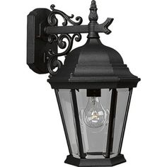 Progress Lighting P5683-31 Wall Lantern with Scroll Arm Combined with The Brilliant Clarity Of Clear Beveled Glass, Textured Black by Progress Lighting. $107.29. From the Manufacturer                Reminiscent of a stroll down a cobbled French lane, these elegant die-cast aluminum lanterns feature a durable powder-coat finish and clear beveled glass panels. Wall lantern with delicately detailed, cast, scroll arm combined with the brilliant clarity of clear, beveled glass. Uses ...