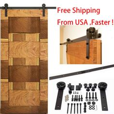 6-6-Ft-Dark-Coffee-Rustic-Steel-Sliding-Barn-Wood-Door-Hardware-Track-Set-Kit-US