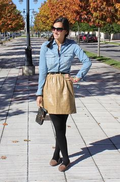 """Autumn look -  As first seen on blog """"Siempre unos zapatos negros"""" here: Autumn look  She is wearing tights similar here: Black Wool Opaque Tights Let these tights keep you warm as you let your flawless style shine! Opaque wool blend tights.  #tights #pantyhose #hosiery #nylons #tightslover #pantyhoselover #nylonlover #legs"""