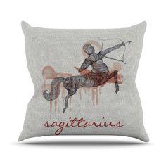 "Belinda Gillies ""Sagittarius"" Outdoor Throw Pillow"