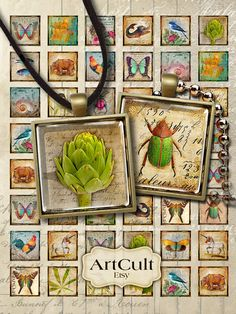 ONLY NATURAL - Digital Collage Sheet 1x1 inch Printable Art Cult downloadable Images for glass and resin pendants, magnets, bezel settings
