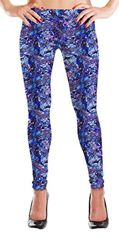 2369746ca90 MyLeggings Buttersoft High Waistband Leggings Blue and Purple Aztec at Amazon  Women s Clothing store