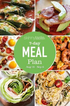A free 7-day, flexible weight loss meal plan including breakfast, lunch and dinner and a shopping list. All recipes include calories and updated WW Smart Points. Meal Prep Plans, 7 Day Meal Plan, Real Food Recipes, Chicken Recipes, Healthy Recipes, Delicious Recipes, Healthy Foods, Weight Loss Meal Plan, Weight Watchers Meals