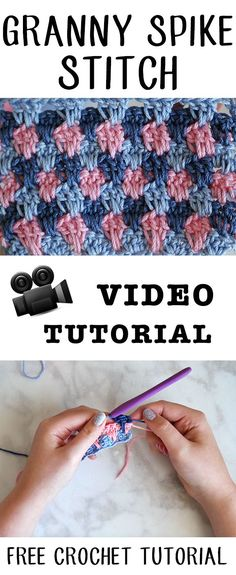 Granny Spike Crochet Stitch Free Video and Written Tutorial from Sewrella Crochet Stitches Free, Tunisian Crochet, Crochet Granny, Love Crochet, Easy Crochet, Crochet Crafts, Crochet Yarn, Crotchet, Crochet Designs