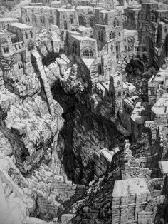 Laurent Gapaillard : Watch Out Photo Illustration, Illustrations, Camera Drawing, City Drawing, Fantasy City, Black And White Drawing, Environmental Art, Fantastic Art, Art Journal Inspiration