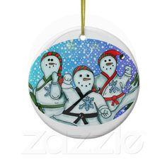 Karate Christmas Snowmen Ornament http://www.zazzle.com/creativeworlds?rf=238274821096031189