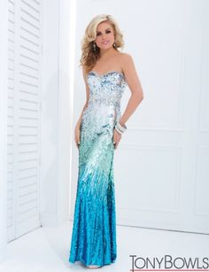 Silver to blue prom dress