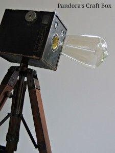 DIY Vintage Camera Tripod Lamp - Pandora's Craft Box