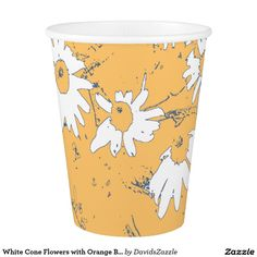 White Cone Flowers with Orange Background Paper Cup  Available on more products, type in the name of this design in the search bar on my products page to view them all!  #cone #daisy #shasta #calendula #floral #flower #orange #blue #white #grey #gray #pattern #print #all #over #abstract #plant #nature #earth #life #style #lifestyle #chic #modern #contemporary #home #decor #kitchen #dining