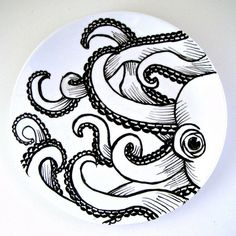 Octopus Plate Ceramic Black White Hand Painted Kraken Sea Creature Nautical Decor Tentacles Wall Art Decorative Plate Upcycled
