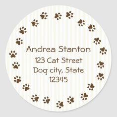 Whether you write them by hand or print them at home, check out our selection of Round Address Labels return address labels. Return Address Stickers, Return Address Labels, Pawprint, Custom Address Labels, Addressing Envelopes, Writing, Cat, Personalized Address Labels, Cat Breeds