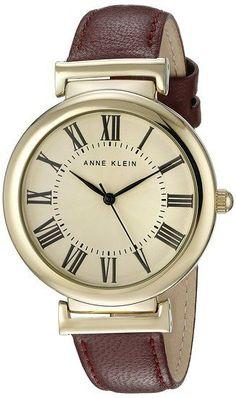 anafa : Anne Klein Womens AK/2136CRBY Gold-Tone and Burgundy Leather Strap Watch للبيع في السعودية, جدة, الرياض. افضل سعر، مراجعة و تقييم   سوق