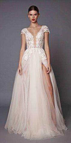 Peach And Blush Wedding Dresses You Must See ❤ See more: http://www.weddingforward.com/peach-blush-wedding-dresses/ #weddings
