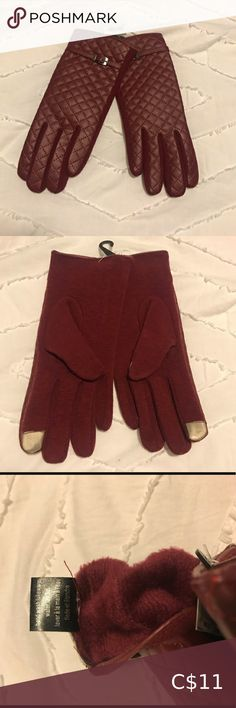 Burgundy Gloves Burgundy Driving Gloves with finger detail for smart devices. Quilted pattern on top with faux leather material. Faux fur lined on the inside. Brand new with tags 🏷 Comes from a smoke free household Bundle 2+ items, save 10% and only pay one shipping fee 🥳 Accessories Gloves & Mittens Black Gloves, Leather Gloves, Blue Mittens, Driving Gloves, Mitten Gloves, Leather Material, Lady In Red, Faux Fur, Women Accessories