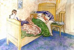 In Mother's Bed-(Carl Larsson,Swedish Painter 1853-1919).