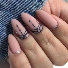 Make an original manicure for Valentine's Day - My Nails Cute Almond Nails, Cute Nails, Pretty Nails, Minimalist Nails, Nail Art Arabesque, Hair And Nails, My Nails, Oval Nails, Gel Nail Designs
