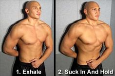 """This is one of the best exercises you can perform to shrink your waistline in a very short amount of time. Many can knock 2 to 4 inches off their midsection in as little as 3 weeks with this technique. Also, building this area of the abdominal muscle will help you gain more control over your """"abs"""" and assist you better in explosive lifts. Stomach Vacuums"""