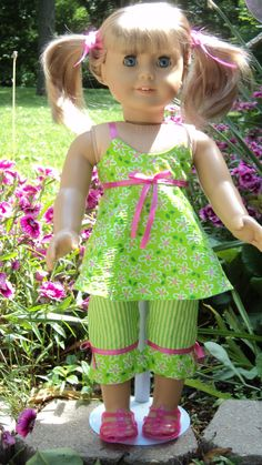American Girl doll clothes  Lime Green Capri Top by susiestitchit, $18.00