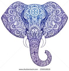 Beautiful Hand-Painted Elephant with Ornament Mandala Tattoo