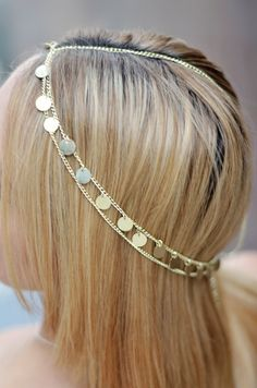 Cleopatra Hair Chain with Gold Coins @Nayna Jewelry https://www.etsy.com/listing/166425825/gold-coin-hair-chain-jewelry-sexy-head