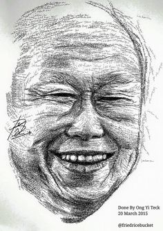 A handwritten portrait of Lee Kuan Yew by Ong Yi Teck #Singapore