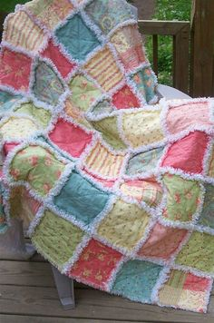 Gorgeous Handmade Rag Quilt Throw April Cornell Poetry Fabric