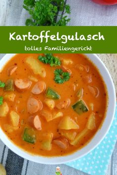goulash with Viennese sausages, family stew - my parlor - Recipe for delicious potato goulash with Viennese sausages. In just 30 minutes of preparation and c -Potato goulash with Viennese sausages, family stew - my parlor - Recipe for delicious potato. Baby Food Recipes, Meat Recipes, Easy Dinner Recipes, Snack Recipes, Easy Meals, Cooking Recipes, Healthy Recipes, Cooking Time, Healthy Soup