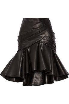 Balmain Wrap-effect pleated leather skirt | NET-A-PORTER | $8,045