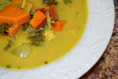 Coconut Curry Soup with Sweet Potatoes and Greens; Meat Option