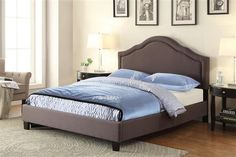 Trespass Traditional Grey Wood Fabric Queen Upholstered Bed-5/0