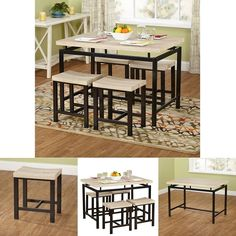 Modern Dining Set 5 Piece Table 4 Chairs Home Kitchen Furniture Wood and Metal #ModernDiningSet #Modern