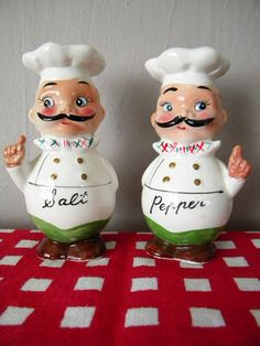 Vintage Chef Salt and Pepper Shakers by by SongbirdSalvation,