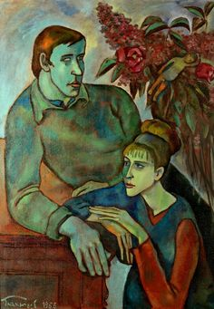 "Gennady Glakhteev  ""Double Portrait"" 1966 100х76 Геннадий Глахтеев  ""Двойной портрет "" 1966 100х76"